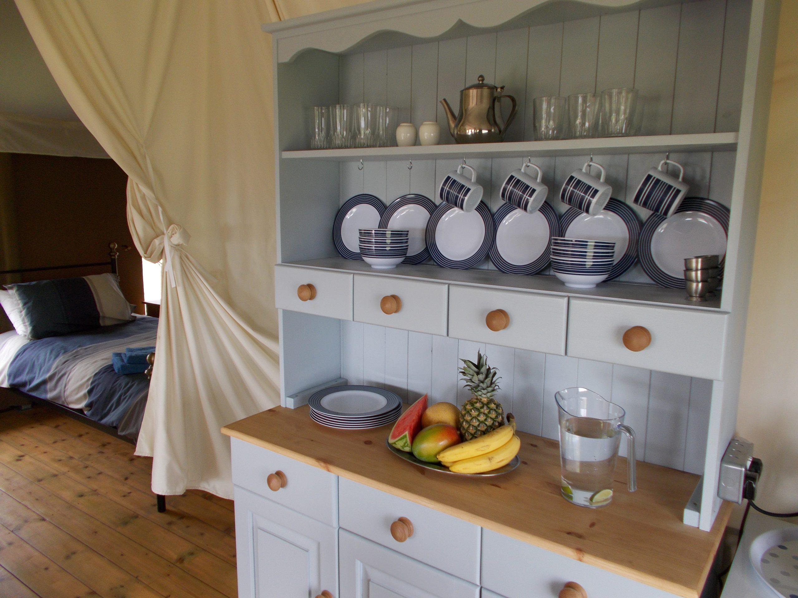 Safari tent kitchen